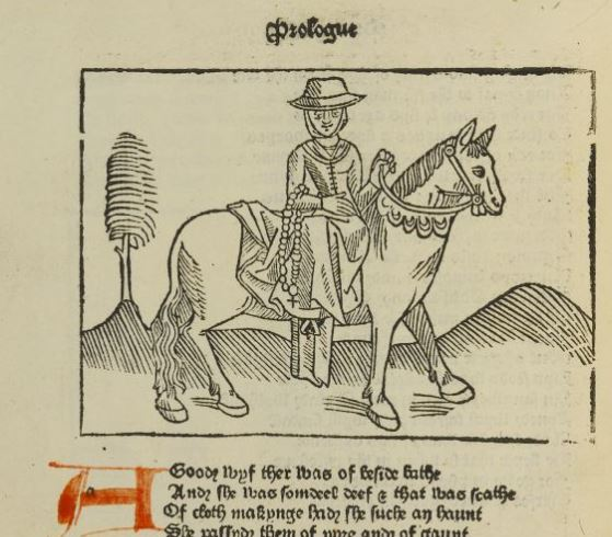 An early printed copy of the Canterbury Tales, featuring a woodcut of a pilgrim on horseback