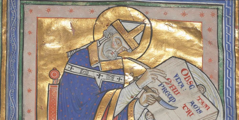 A gold-illuminated image of St Dunstan copying the rule of St Benedict