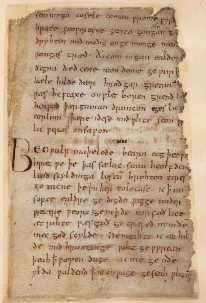 Folio 169r of the Beowulf manuscript, with the name