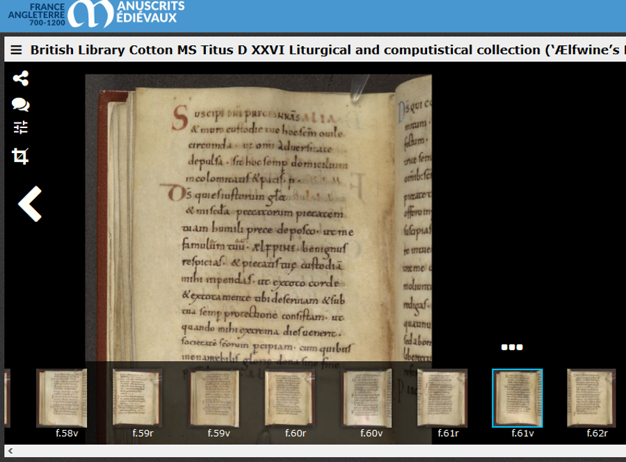 The website of the Polonsky Foundation England and France project, showing the thumbnail images of manuscript pages