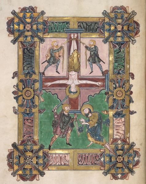 Highly decorated and illuminated manuscript with acanthus borders, showing St Peter being crucified upside down