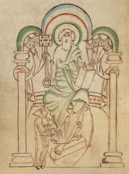 Aelfwine, dean of New Minster, Winchester, standing before St Peter on a great throne with a key